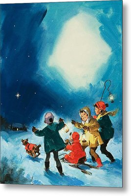 Children In The Snow Metal Print by English School