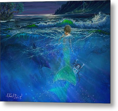Metal Print featuring the painting Children Of The Sea by Steve Roberts