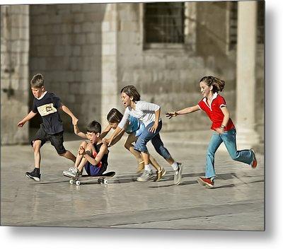 Children Playing In Dubrovnik Metal Print