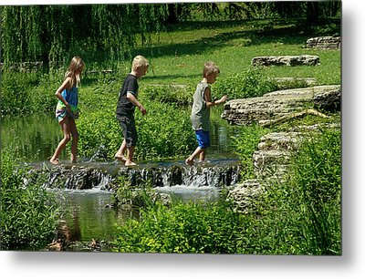 Children Playing In The Deer Lake Riffles Metal Print by Garry McMichael