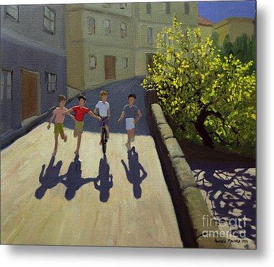 Children Running Metal Print by Andrew Macara