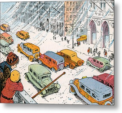 Children Watching City Traffic In A Snowstorm Metal Print by American School