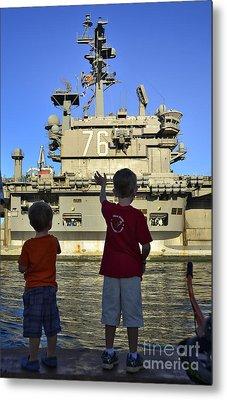 Children Wave As Uss Ronald Reagan Metal Print by Stocktrek Images