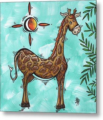 Childrens Nursery Art Original Giraffe Painting Playful By Madart Metal Print by Megan Duncanson