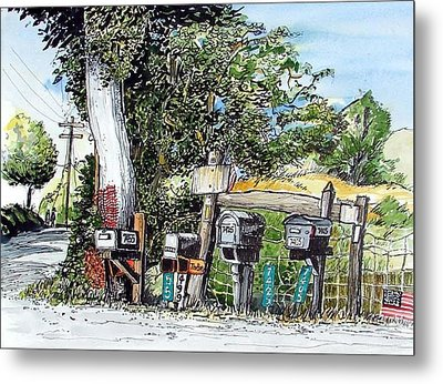 Metal Print featuring the painting Chili Hills Mail Boxes by Terry Banderas