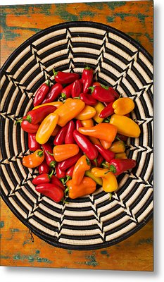 Chili Peppers In Basket  Metal Print by Garry Gay