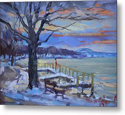 Chilly Sunset In Niagara River Metal Print