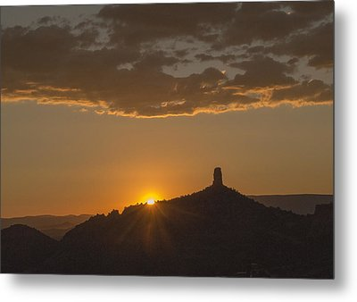 Chimney Rock Sunset Metal Print by Laura Pratt