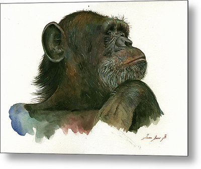 Chimp Portrait Metal Print by Juan Bosco