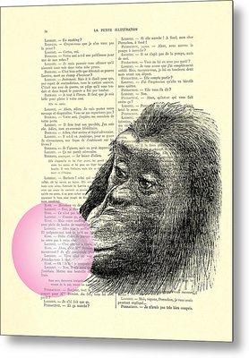 Chimpanzee Pink Bubblegum Nursery Girl's Bedroom Metal Print