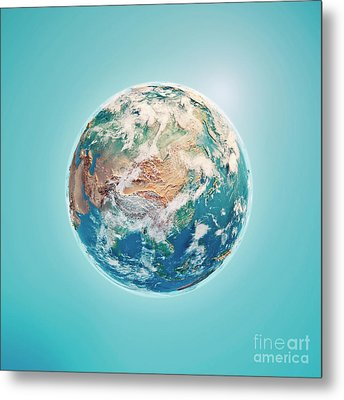 China 3d Render Planet Earth Clouds Metal Print