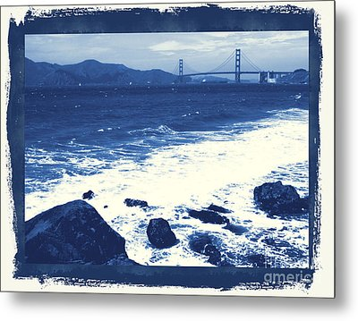 China Beach And Golden Gate Bridge With Blue Tones Metal Print by Carol Groenen