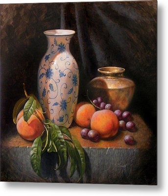 China Brass And Peaches Metal Print by Timothy Jones