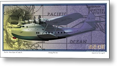 China Clipper Chasing The Sun Metal Print by Kenneth De Tore