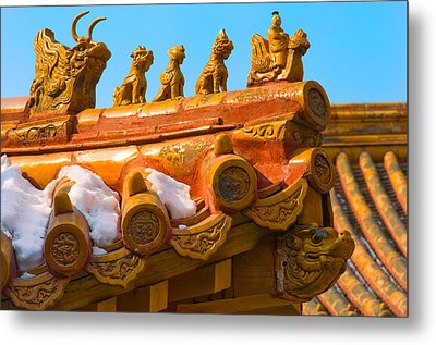 China Forbidden City Roof Decoration Metal Print by Sebastian Musial