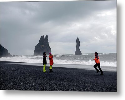 Metal Print featuring the photograph China's Tourists In Reynisfjara Black Sand Beach, Iceland by Dubi Roman