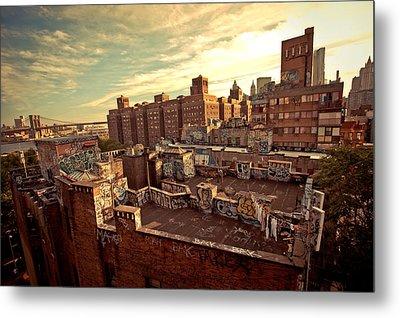 Chinatown Rooftop Graffiti And The Brooklyn Bridge - New York City Metal Print by Vivienne Gucwa