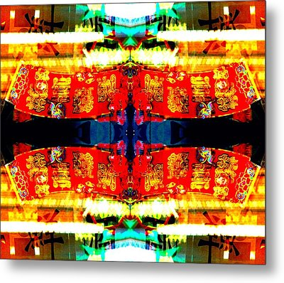 Metal Print featuring the photograph Chinatown Window Reflection 5 by Marianne Dow