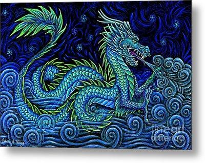 Chinese Azure Dragon Metal Print by Rebecca Wang