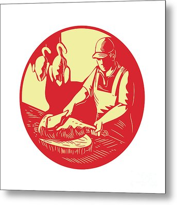 Chinese Cook Chop Meat Oval Circle Woodcut Metal Print by Aloysius Patrimonio