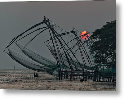 Chinese Fishing Nets, Cochin Metal Print by Marion Galt