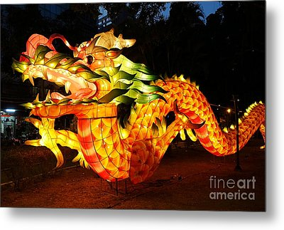 Metal Print featuring the photograph Chinese Lantern In The Shape Of A Dragon by Yali Shi