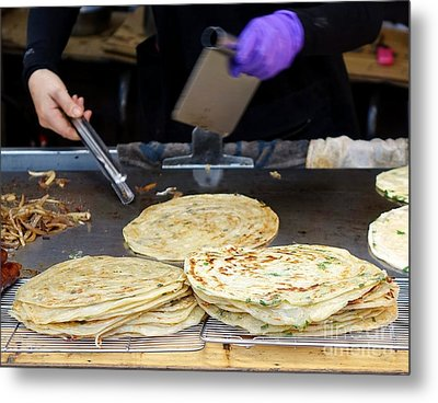 Metal Print featuring the photograph Chinese Street Vendor Cooks Onion Pancakes by Yali Shi