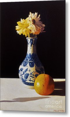 Chinese Vase And Orange Metal Print by Daniel Montoya