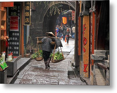 Chinese Woman Carrying Vegetables Metal Print by Valentino Visentini