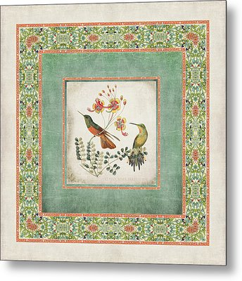 Chinoiserie Vintage Hummingbirds N Flowers 1 Metal Print