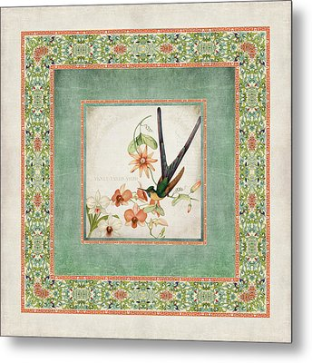 Chinoiserie Vintage Hummingbirds N Flowers 3 Metal Print