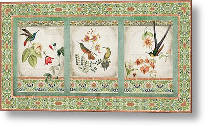 Triptych - Chinoiserie Vintage Hummingbirds N Flowers Metal Print by Audrey Jeanne Roberts