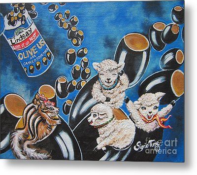 Chip And Dip In Space Olives Metal Print