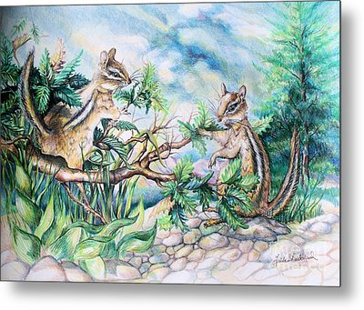 Chipmunk Metal Print by Linda Shackelford