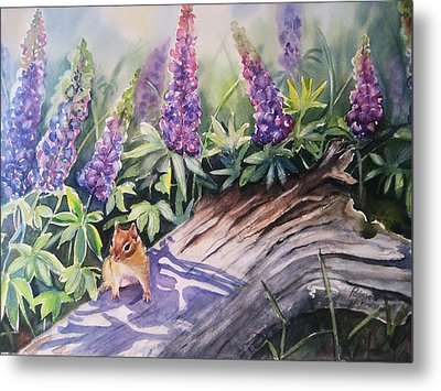 Chipmunk On Log With Lupine Metal Print by Patricia Pushaw