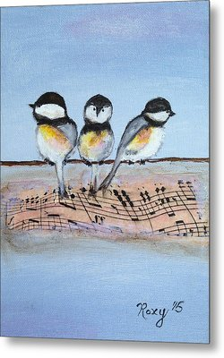Chirpy Chickadees Metal Print by Roxy Rich