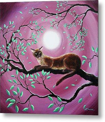 Chocolate Burmese Cat In Dancing Leaves Metal Print