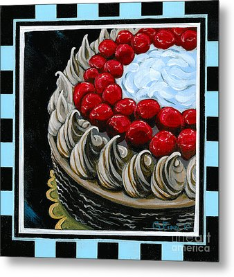 Chocolate Cake With A Cherry On Top Metal Print