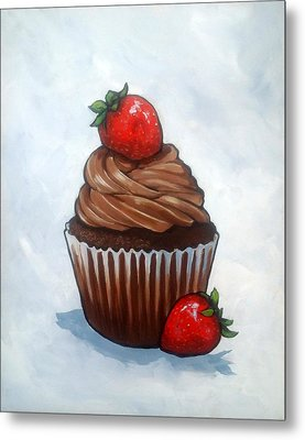 Chocolate Cupcake With Strawberries Metal Print by Joyce Geleynse