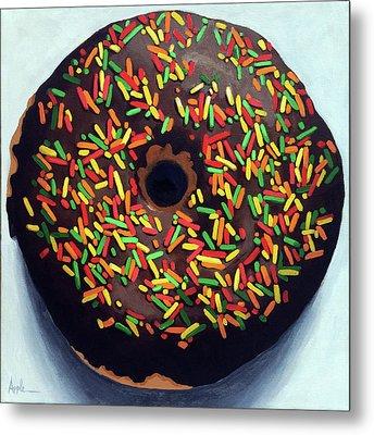 Chocolate Donut And Sprinkles Large Painting Metal Print by Linda Apple