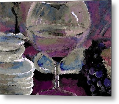 Chocolate Pie And Wine Metal Print by Lisa Kaiser