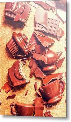 Chocolate Tableware Destruction Metal Print by Jorgo Photography - Wall Art Gallery