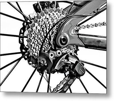 Metal Print featuring the digital art Choice Transport 2 Bw by Wendy J St Christopher
