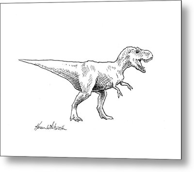 Metal Print featuring the drawing Tyrannosaurus Rex Dinosaur T-rex Ink Drawing Illustration by Karen Whitworth