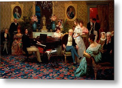 Chopin Playing The Piano In Prince Radziwills Salon Metal Print