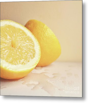 Chopped Lemon Metal Print by Lyn Randle