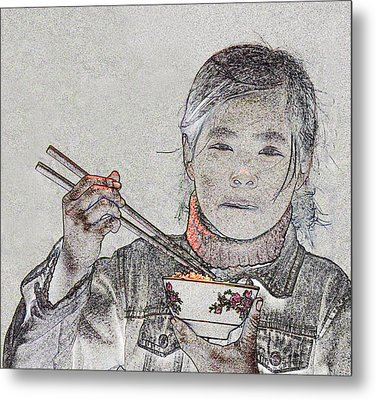 Chopsticks And Rice Metal Print