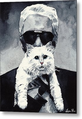 Choupette Cat And Karl Lagerfeld Metal Print by Laura Row