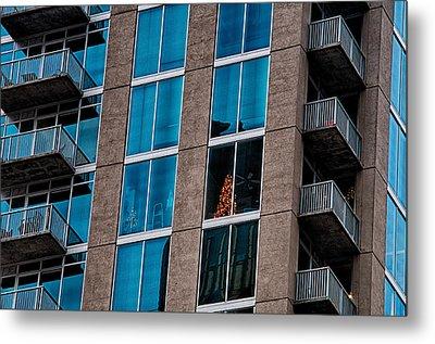 Chrastmas Tree Seen In An Apartment Of A Skyscraper Condo Buildi Metal Print by Alex Grichenko