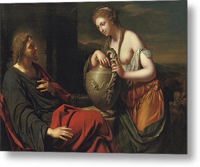 Christ And The Samaritan Woman Metal Print by Adriaan van der Werff